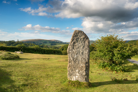standing stone: A standing stone erected at Leusdon on Dartmoor National Park to commemorate the Queens Silver Jubilee