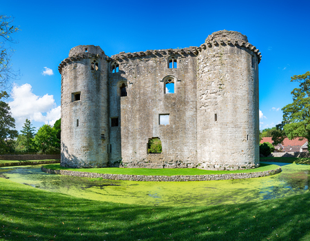 The moated medieval castle at the village of Nunney in Somerset Editorial