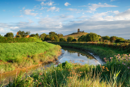 The convergence of the rivers Tone and Parrett below Burrow Mump on the Somerset Levels