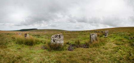 stone circle: A panoramic view of the Grey Wethers Stone circle near Postbridge on a remote part of Dartmoor National Park in Devon