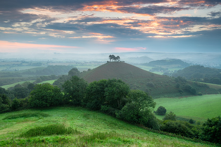 A stormy sunrise over Colmers Hill at Symondsbury near Bridport in Dorset