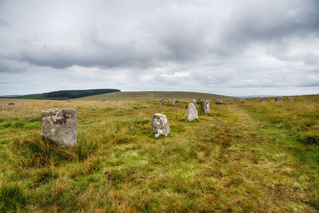 The Grey Wethers, two stone circles to the north of Postbridge on a remote part of Dartmoor National park in Devon