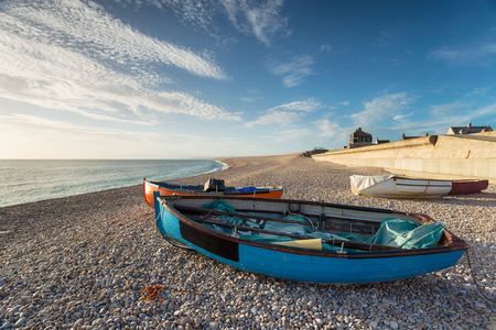 shorelines: Fishing boats on Chesil Beach at the Isle of Portland near Weymouth in Dorset