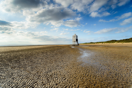 somerset: The Low Lighthouse on the beach at Burnham on Sea in Somerset