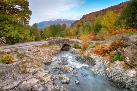 Autumn at Ashness Bridge above Derwent Water in the Lake District National Park in Cumbria