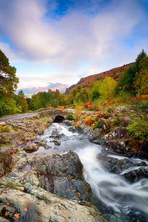 Autumn at Ashness Bridge just above Derwent Water near Keswick in the Lake District Stock Photo