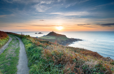 Sunset ftom the South West Coast Path at Cape Cornwall near Lands End