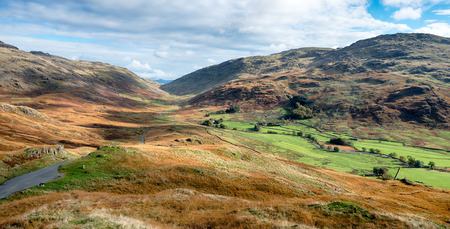 cumbria: Dramatic mountain lanscape where the passes of Wrynose and Hardknott meet at Duddon Valley in Cumbria