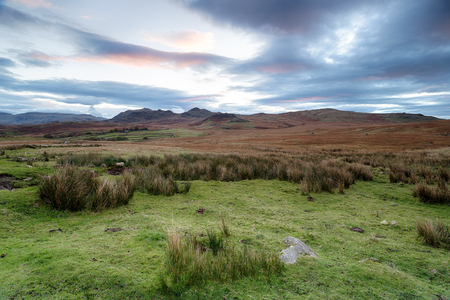 Daybreak over Birker Fell on a remote part of the Lake District national Park in Cumbria