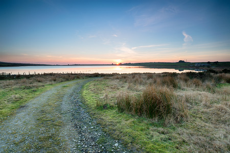bodmin: A moorland track leading to Dozmary Pool on Bodmin Moor in Cornwall Stock Photo