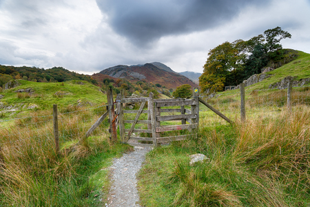 A grey overcast day on a footpath at Little Langdale in the Lake district national park in Cumbria