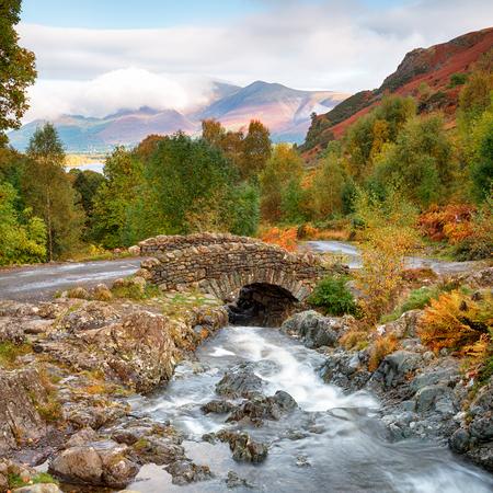 Autumn colour at Ashness Bridge above Derwentwater near Keswick in the Lake District
