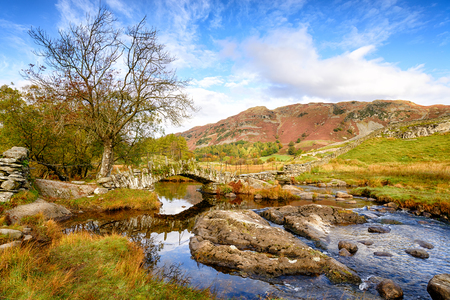 The beautiful Slaters Bridge at Little Langdale in the Lake District in Cumbria