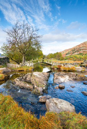 Picturesque Slaters Bridge at Little Langdale in the Lake District National Park in Cumbria