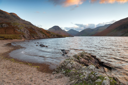 Looking out to Scafell Pike from the shores of Wastwater in the Lake District Stock Photo