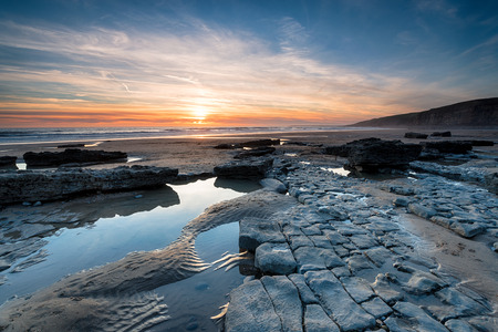 Limestone pavements on the beach at Dunraven Bay at Southerndown in the Vale of Glamorgan in south Wales