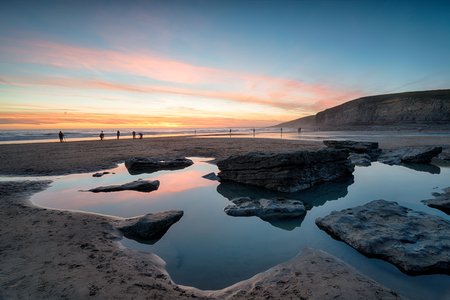 Sunset at Dunraven Bay on the south coast of Wales Stock Photo