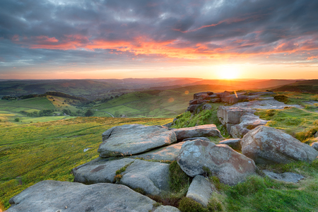 Stunning sunset over Higger Tor in the Peak District national park near Sheffield