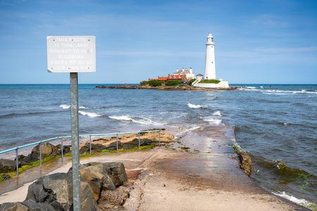 St Marys Lighthouse on the Northumberland coast at Whitley Bay Stock Photo