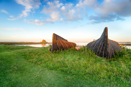 upturned: Boat sheds made from up turned boats at Lindisfarne on the Northumbria coast