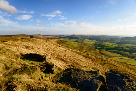 The view from the top of Shing Tor, the highest peak in Cheshire and looking out over the A537 to the distictive peak of Shutlingsloe