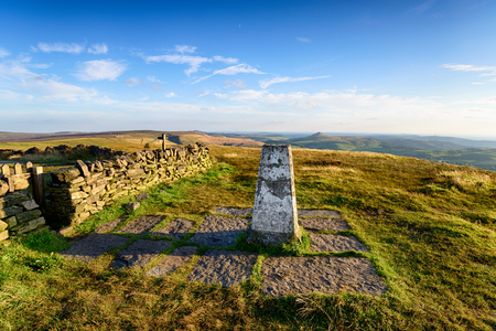 The Trig point at the summit of Shining Tor, the highest point in Cheshire and part of the Peak District national park