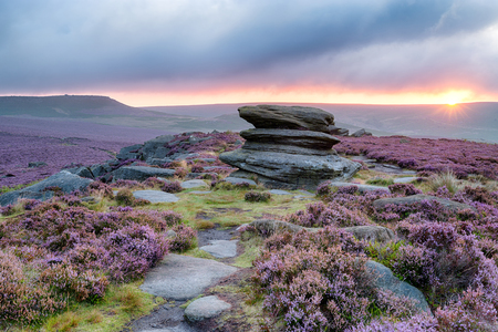 Sunrise at Over Owler Tor above Surprise View in the Peak District National Park in Derbyshire