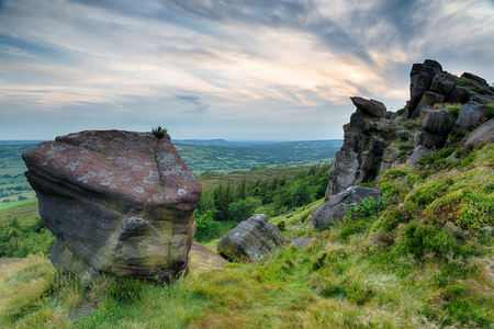 Rock formations at The Roaches in the Peak District National Park in Staffordshire