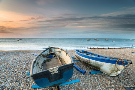 Boats on the beach at Selsey on the West Sussex coastline