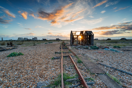 An abandoned fishing net hut on the beach at Dungeness on the Kent coast