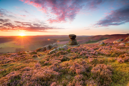 The Salt Cellar, a weathered rock formation high up on Derwent Edge in the Peak District National Park in Derbyshire