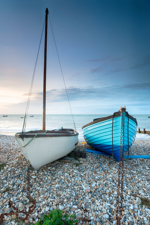 Boats on the beach at Selsey on the West Sussex coast