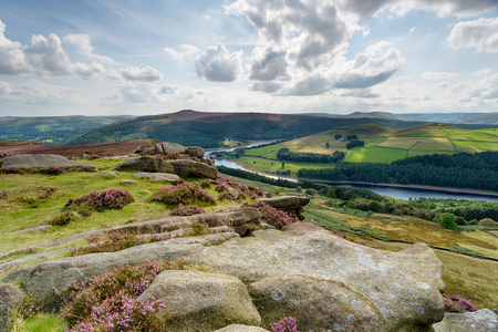 A view over Ladybower Reservoir from Derwent Edge in the Peak District National Park in Derbyshire