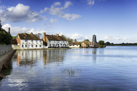 Pretty cottages adn an old mill on the quay at Langstone on the Hampshire coast