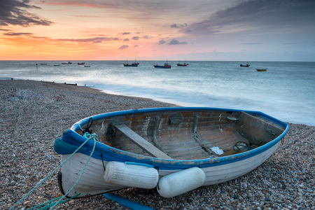 Fishing boat on the beach at Selsey Bill on the Sussex coastline Stock Photo