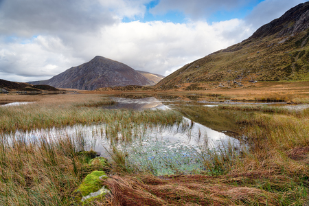 Llyn Idwal lake in the Glyderau Mountains in Snowdonia National park in Wales