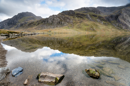 Llyn Idwal lake in the mountains of Snowdonia National Park in north Wales