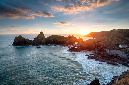 Sunset over Kynance Cove on the Lizard Peninsula in Cornwall