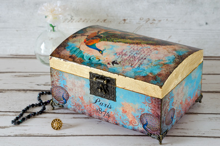 Stunning jewelry chest decoupaged in a vintage style Stok Fotoğraf
