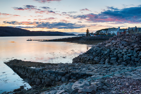 Dusk over Shiledaig in the highlands of Scotland 免版税图像