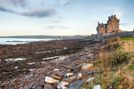 Ackergill Tower on the beach at Reiss near Wick in Caithness on the east coast of Scotland