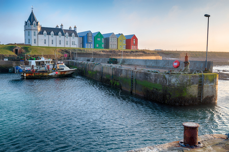 Fishing boats in the harbour at Jon O Groats in Scotland