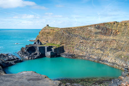 The Blue Pool at Abereiddy on the Pembrokeshire coast in Wales