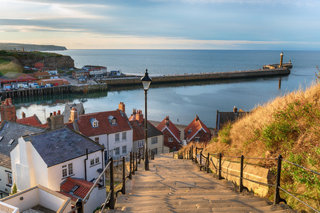 The 199 Steps at Whitby on the North Yorkshire coastline 免版税图像