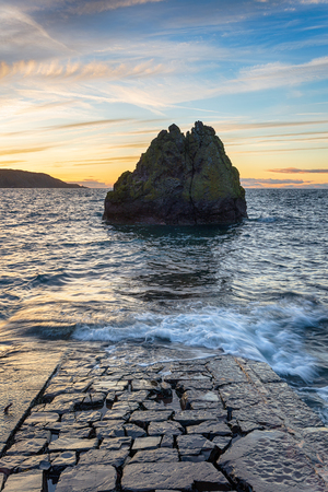 A sea stack at Pettico Wick Bay at St Abbs in the Scottsih Borders