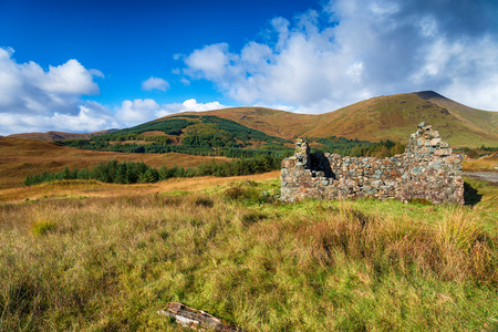 The ruins of an old croft at Torness on the Isle of Mull in Scotland