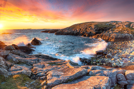 Stunning sunset at Buaile Fainis cove near Mealista on the Isle of Lewis in the Outer Hebrides of Scotland