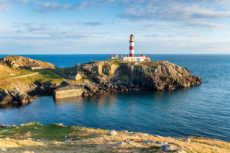 Eilean Glas Lighthouse on the Isle of Scalpay, a small isle of the Isle of Harris in the Outer Hebrides of Scotland