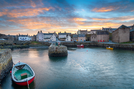 Sunset over Portsoy a fishing village in Aberdeenshire on the east coast of Scotland Stock Photo