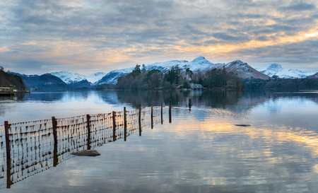 Winter sunset over Derwentwater at Keswick in the Lake District national Park in Cumbria